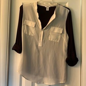 bar III white and black blouse with 3/4 sleeves